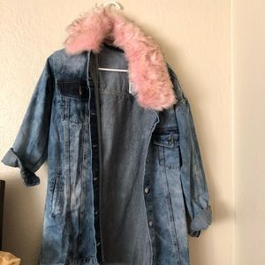 Denim adjustable fur jacket